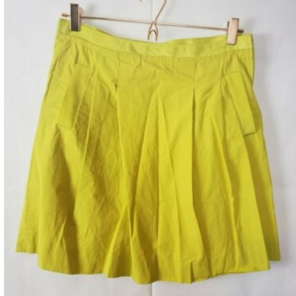 J. Crew Dresses & Skirts - J. Crew Fit & Flare Neon Yellow Pleated Skirt